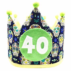 Corona cumpleaños tela calaveras